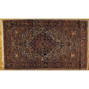 136 Circa 1940 4_x7 Foot Hand-Knotted Persian Rug,